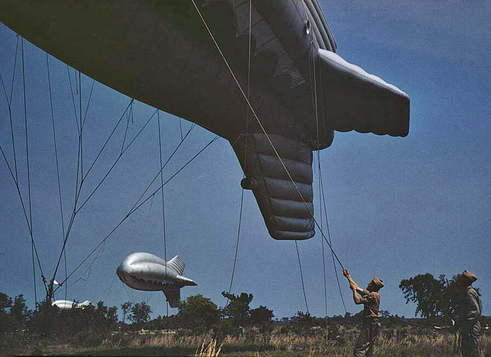 1942 May - U.S. Marine Corps barrage balloons, Parris Island, S.C