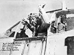 1 September 1944 - Captain (later Major) Andrew D. -Jug- Turner (January 6, 1920-September 14, 1947) commander of the 100th Fighter Squadron, 332nd Fighter Group, 15th Air Force, waves from the cockpit of his North American P-51C-10-NT Mustang (#42-103960) -Skipper's Darlin III. Ramitelli, Campobosso, Italy (Photo by Toni Frisell)