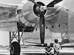 Fairchild C-82 Packet. Hagerstown, MD - It's with awe and pride that the two youngsters gaze upward at this giant Fairchild C-82 Packet, for their daddies helped build it.