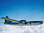 World War II  USAF B-29 Bomber Aircraft in flight. 1945. (Photo by Bettmann/CORBIS)