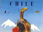 SAS Airlines Vintage Aviation Travel Poster Chile (Scandinavian Airline System 1950)