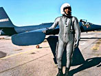 American Francis Gary Powers in front of his U-2 spy plane. The pilot was captured by the Soviets in 1960 after his aircraft crashed in Russia