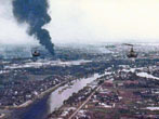 8 May 1968 - Saigon The enemy's May Offensive. The enemy's May Offensive began; there was heavy fighting in Saigon. Here, we're flying 9th Infantry Division troops to the Y Bridge in Saigon. (Terry J. Wilund Collection)