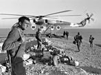 Israeli CH-53 Helicopter taking equipment and soldiers after military action, the War of Attrition, January 1970