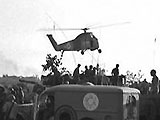 Ambulances and Helicopters evacuating wounded soldiers from the first aid post at the rafa juntion.